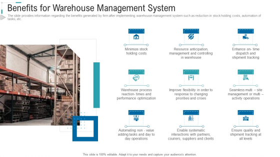 Inventory Stock Control Benefits For Warehouse Management System Ppt Slide PDF