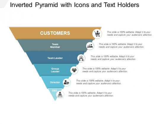 Inverted Pyramid With Icons And Text Holders Ppt PowerPoint Presentation Show Graphics
