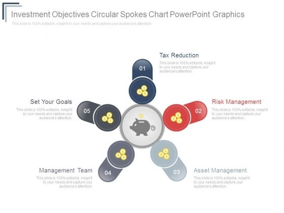 Investment Objectives Circular Spokes Chart Powerpoint Graphics