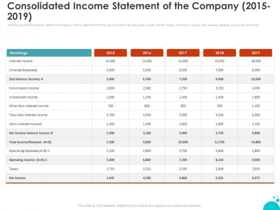 Investment Pitch For Aftermarket Consolidated Income Statement Of The Company 2015 2019 Ppt PowerPoint Presentation Gallery Model PDF