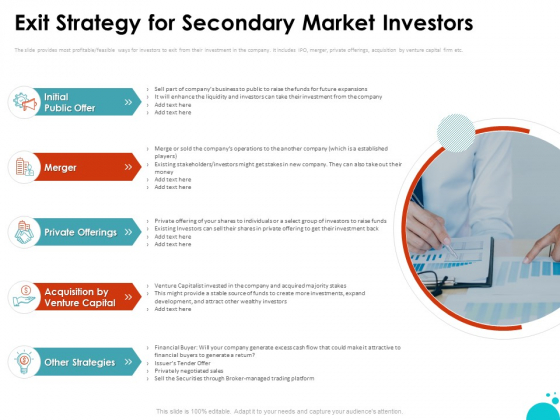 Investment Pitch For Aftermarket Exit Strategy For Secondary Market Investors Ppt PowerPoint Presentation Layouts Graphics Tutorials PDF
