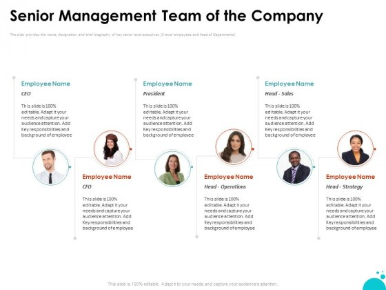 Investment Pitch For Aftermarket Senior Management Team Of The Company Ppt PowerPoint Presentation Outline Smartart PDF