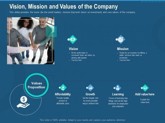Investment Pitch To Generate Capital From Series B Venture Round Vision Mission And Values Of The Company Microsoft PDF