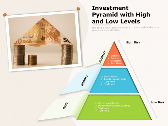 Investment Pyramid With High And Low Levels Ppt PowerPoint Presentation Gallery Influencers PDF
