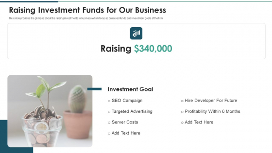 Investment_Raising_Pitch_Deck_Funds_Allocation_Raising_Investment_Funds_For_Our_Business_Ideas_PDF_Slide_1