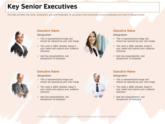 Investor Deck For Capital Generation From Substitute Funding Options Key Senior Executives Summary PDF