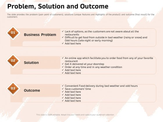 Investor Deck For Capital Generation From Substitute Funding Options Problem Solution And Outcome Topics PDF