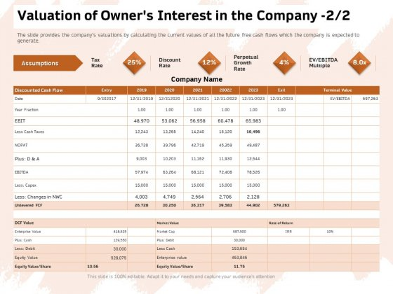 Investor Deck For Capital Generation From Substitute Funding Options Valuation Of Owners Interest In The Company Equity Summary PDF
