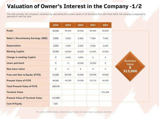 Investor Deck For Capital Generation From Substitute Funding Options Valuation Of Owners Interest In The Company Rules PDF