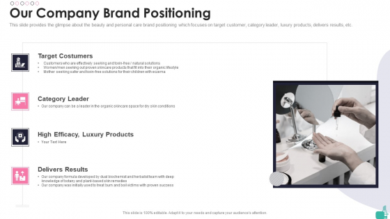 Investor Funding Elevator Pitch Deck For Beauty Merchandise Our Company Brand Positioning Information PDF