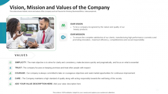 Investor Pitch Deck For Seed Funding From Private Investor Vision Mission And Values Of The Company Diagrams PDF