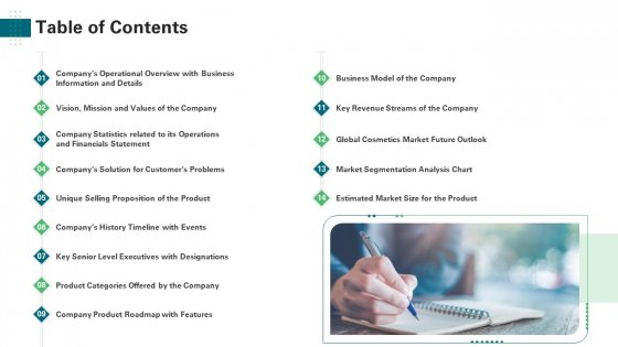 Investor Pitch Deck Generate Start Up Finance Venture Capitalist Table Of Contents Background PDF