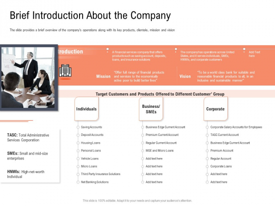 Investor Pitch Deck To Collect Capital From Subordinated Loan Brief Introduction About The Company Infographics PDF