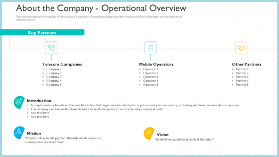 Investor_Pitch_Deck_To_Generate_Capital_From_Initial_Currency_Offering_About_The_Company_Operational_Overview_Background_PDF_Slide_1