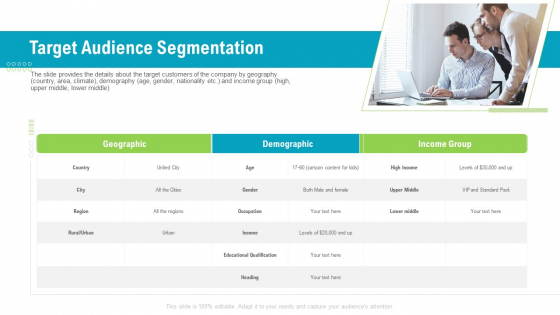 Investor Pitch Deck To Generate Capital From Pre Seed Round Target Audience Segmentation Diagrams PDF