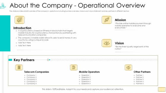 Investor Pitch Ppt For Crypto Funding About The Company Operational Overview Guidelines PDF