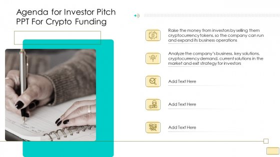 Investor Pitch Ppt For Crypto Funding Agenda For Investor Pitch Ppt For Crypto Funding Structure PDF