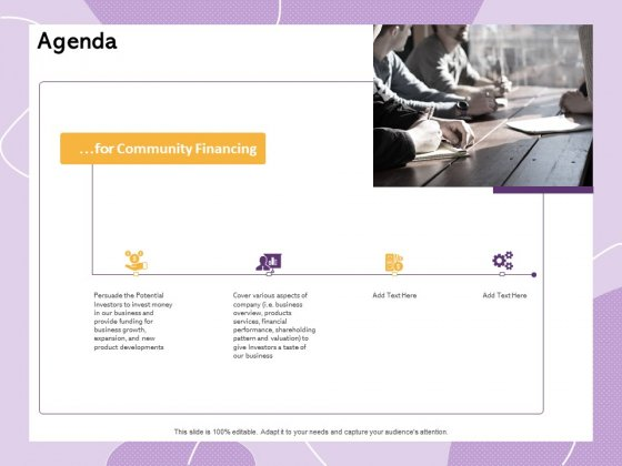 Investor Presentation For Society Funding Agenda Ppt PowerPoint Presentation Show Layouts PDF