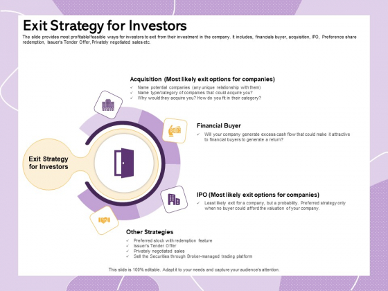 Investor Presentation For Society Funding Exit Strategy For Investors Ppt PowerPoint Presentation Tips PDF