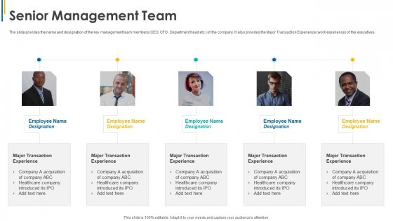 Investors Pitch General Deal Mergers Acquisitions Senior Management Team Ppt Infographics Example Topics PDF