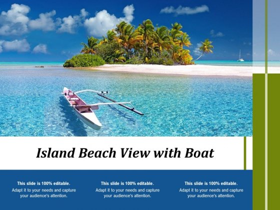 Island Beach View With Boat Ppt PowerPoint Presentation Styles Inspiration PDF