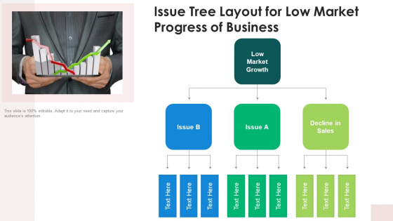 Issue Tree Layout For Low Market Progress Of Business Ppt Inspiration Maker PDF