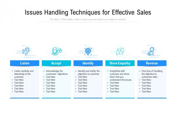 Issues Handling Techniques For Effective Sales Ppt PowerPoint Presentation Inspiration Picture