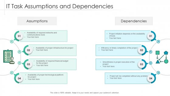 It Task Assumptions And Dependencies Ppt Pictures Inspiration PDF