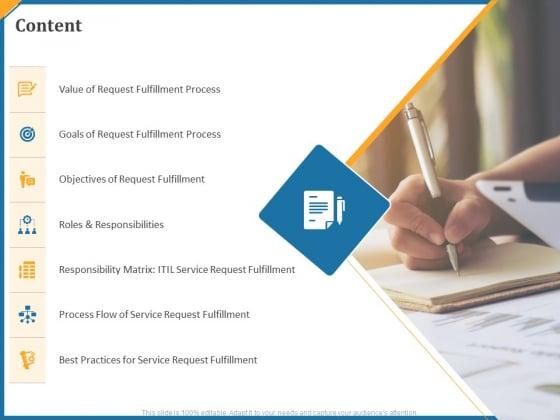 Itil Service Request Fulfillment Process Content Ppt Show Master Slide PDF