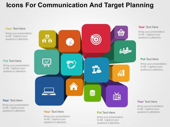 Icons For Communication And Target Planning PowerPoint Templates