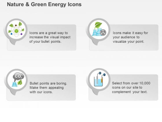 Icons For Green Energy Production With Co2 Gas And Battery Ppt Slides Graphics