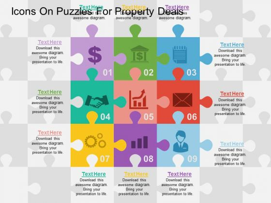 Icons On Puzzles For Property Deals PowerPoint Template