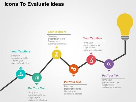 Icons To Evaluate Ideas PowerPoint Template