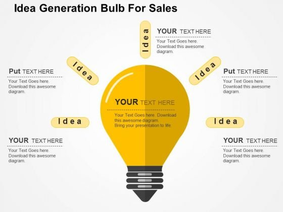 Idea Generation Bulb For Sales PowerPoint Template