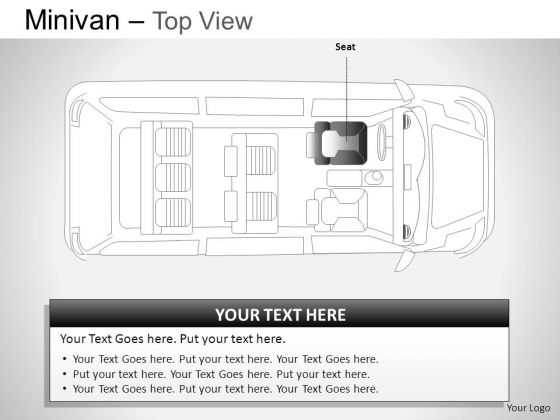 Illustration Green Minivan Top View PowerPoint Slides And Ppt Diagram Templates