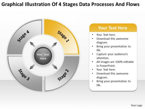 Illustration Of 4 Stages Data Processes And Flows Ppt Linear Rate PowerPoint Slides