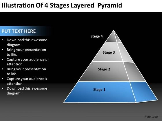 Illustration Of 4 Stages Layered Pyramid Ppt Business Plan Write PowerPoint Templates