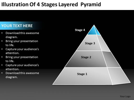 Illustration Of 4 Stages Layered Pyramid Ppt Business Planning Guide PowerPoint Templates
