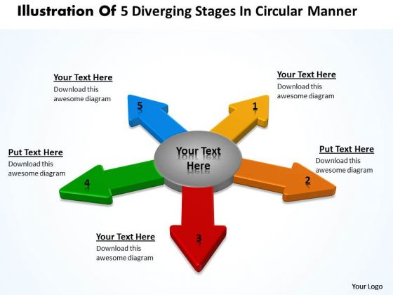 Illustration Of 5 Diverging Stages Circular Manner Pie Network PowerPoint Templates