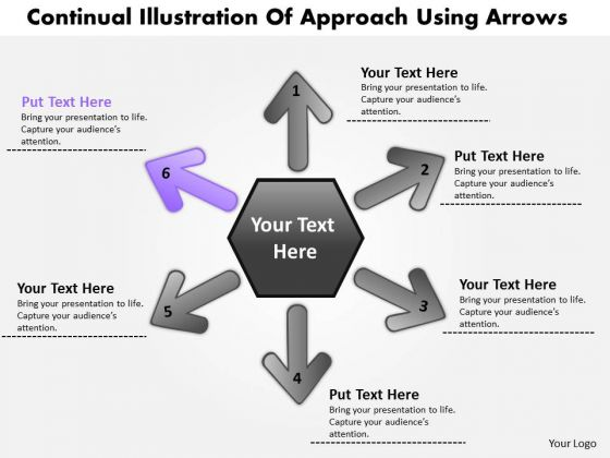 Illustration Of 6 Approach Using Arrows Circular Flow Chart PowerPoint Slides