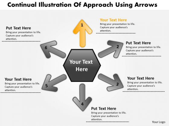 Illustration Of 6 Approach Using Arrows Circular Flow Motion Network PowerPoint Templates