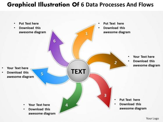 Illustration Of 6 Data Processes And Flows Circular Chart PowerPoint Templates
