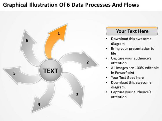 Illustration Of 6 Data Processes And Flows Circular Spoke Chart PowerPoint Slides