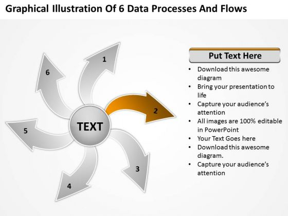 Illustration Of 6 Data Processes And Flows Cycle Arrow PowerPoint Templates