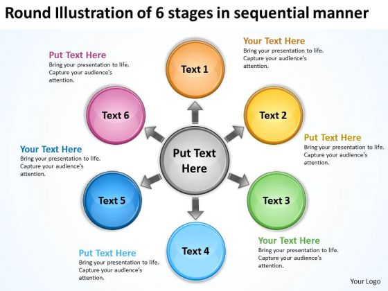 Illustration Of 6 Stages In Sequential Manner Arrows Network Software PowerPoint Templates