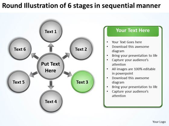 Illustration Of 6 Stages In Sequential Manner Business Circular Diagram PowerPoint Templates