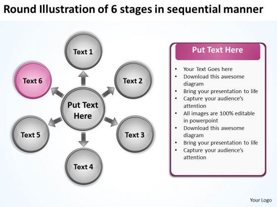 Illustration Of 6 Stages In Sequential Manner Chart Circular Diagram PowerPoint Templates