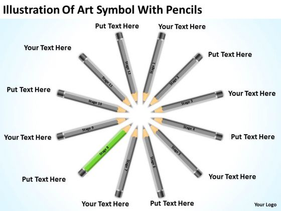 Illustration Of Art Symbol With Pencils Ppt Catering Business Plan Sample PowerPoint Slides