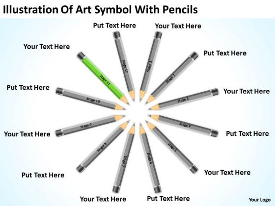 Illustration Of Art Symbol With Pencils Ppt Designing Business Plan PowerPoint Slides