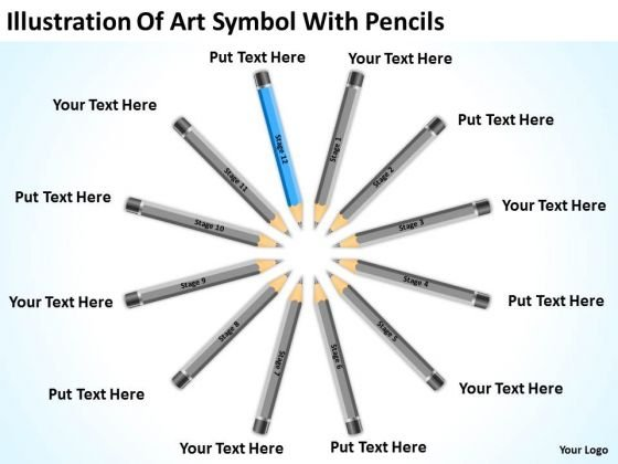 Illustration Of Art Symbol With Pencils Ppt Example Small Business Plan PowerPoint Slides